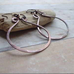 Organic Copper Earrings Rustic Hand Hammered